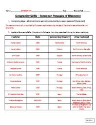 Exploration Geography Skills European Voyages Of Discovery Chart And Map