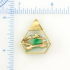 14k yellow gold green jadeite jade carved elephant estate pendant upc 352223