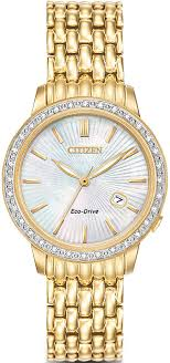 women s gold tone citizen eco drive diamond watch ew2282 52d