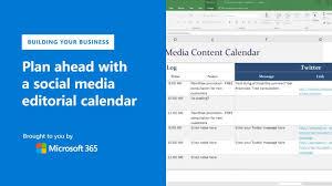 Plan Ahead With A Social Media Editorial Calendar Using Microsoft