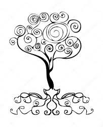 Tetování Strom Výzdoba Prvek Znak Curl D Stock Fotografie