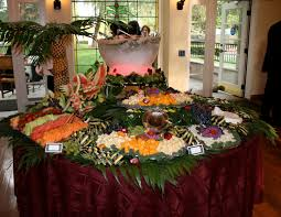 dining room round table display catering presentation