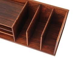 mid century modern desk top organizer in rio rosewood