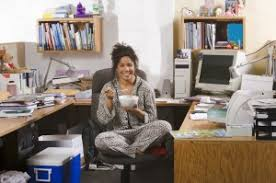 home office work. Woman Working In Pajamas At Home Office Work