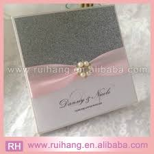 Wedding Invitation Folder Sparkly Pearl Crystal Sliver Glitter Folder Wedding Invitation Card With Blush Pink Bow Buy Sparkly Sliver Glitter Wedding Invite Cards Pearl