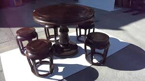 vintage chinese africa zitan round table 5 chairs set s2836m