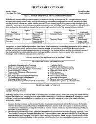 Training And Development Manager Resume Resume Sample