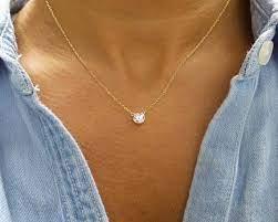 diamond solitaire necklace cz