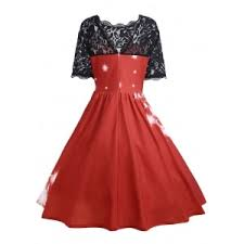 Red 2xl Plus Size Lace Panel Midi Father Christmas Party Dress Christmas Party Dress Plus Size