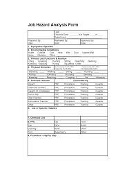 job safety analysis template job hazard analysis form job place safety sample resume job