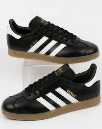 adidas trainers adidas gazelle leather trainers black white gum
