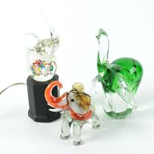 home improvement green glass elephant figurines