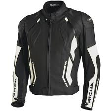 richa mugello leather jacket black white
