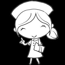 指を立てて大事なポイント説明する看護師の女性塗り絵かわいい無料