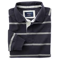 fashion 4 men classic fit navy and grey striped rugby shirt