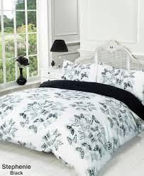 duvet quilt cover bedding set black white single