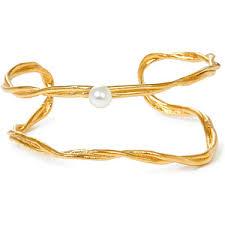 Joid'Art Позолоченный незамкнутый браслет с жемчугом, из ...