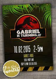 Jurassic Park Invitations Jurassic Park Invitation Boys Custom Dinosaur By