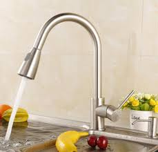 luxice modern stainless steel single handle pull down spray kitchen sink faucet brushed nickel finished kitchen faucet