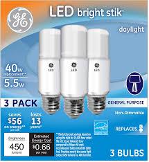 Ge Light Stick 100 Watt Ge Lighting 63553 Led Brightstik 5 5 Watt 40 Watt Replacement 450 Lumen Light Bulb With Medium Base Daylight 3 Pack