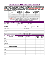 printable registration form template beaufiful free printable family reunion templates images of