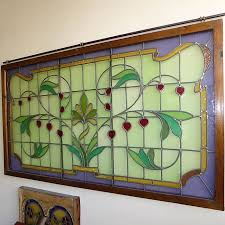a large jugendstil frame stained glass panel with fl motifs