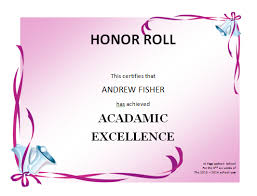 Certificate Of Honor Template Honor Roll Certificates Template Business