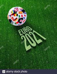 Euro 2021 football championship. Soccer ball with flags of European  countries and text Stock Photo - Alamy
