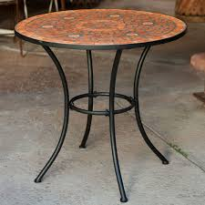 round outdoor metal table. Round Outdoor Patio Bistro Table With Terracotta Mosaic Tiles And Black Metal Frame L