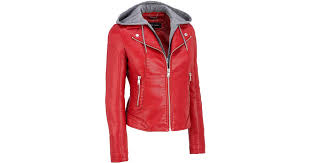 wilsons leather black rivet faux leather moto jacket w adjustable and removable hood in red lyst