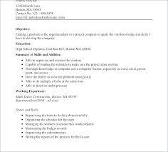 Construction Worker Job Description Resume For Superintendent