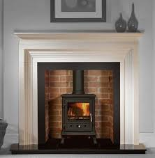 brick lining to chimney black hearth layered wood mouldings for surround and mantle