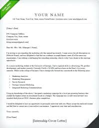 Cover Letter Template For Internship Example Marketing