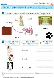 The aw sound is the vowel sound in all, chalk, and sauce. Phonics Worksheets Lesson 7 Vowel Teams Aw
