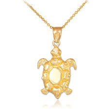 gold boutique sea turtle pendant necklace in 9ct gold