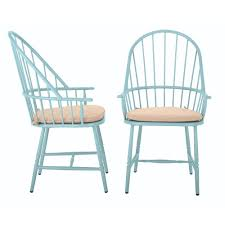 martha stewart living blue hill blue aluminum outdoor dining chairs with beige tan cushions