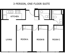 floor plan of a house with dimensions. Fine Dimensions Typical 3 Bedroom One Floor Suite Throughout Plan Of A House With Dimensions