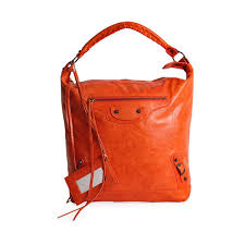balenciaga lambskin leather courier bag orange