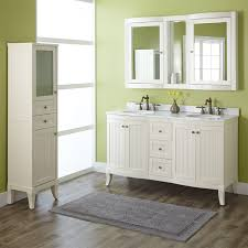 Curved Bathroom Vanity Cabinet 60 Palmetto Creamy White Double Vanity Set Double Sink Vanities