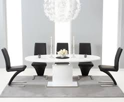 seville 160 mdf high gloss extending dining table with 6 hereford black chairs me home furnishings