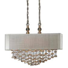 uttermost santina 2 light rectangular drum pendant with champagne crystals