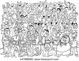 group of people clipart black and white. Brilliant Group Black And White Cartoon Illustration Of People Group In The Crowd Inside Of Clipart And