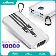 Pin sạc dự phòng JUYUPU PG101 đa năng kèm dây sạc Micro iPhone Type C chân