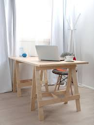 home office simple. Simple Small DIY Home Office Furniture Decoration With Wood Trestle Desk Leg Fabric Accent Chair And Glass Window White Curtains U