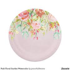 Pink Flower Paper Plates Pink Floral Garden Watercolor Paper Plate Bridal Shower