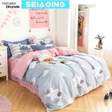 duvet covers queen cute star cloud bedding sets girl cotton cartoon pink grey comforter covers queen full size bed linens home decor sheet affordable