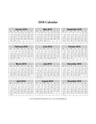 Printable 2018 Calendar On One Page Vertical Week Starts On Monday