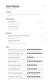 Lead Technician Resume Samples Visualcv Resume Samples Database