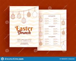 Menu Card Template Easter Brunch Menu Card Or Template Design Stock