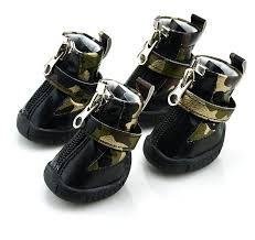 camo pu leather dog boots winter pet shoes gold